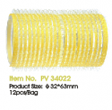 JOZELLE HAIR ROLLER VELCRO ROLLERS 32*63MM PK12 YELLOW